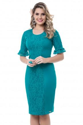 vestido justo verde rendado manga babados bella heranca viaevangelica frente