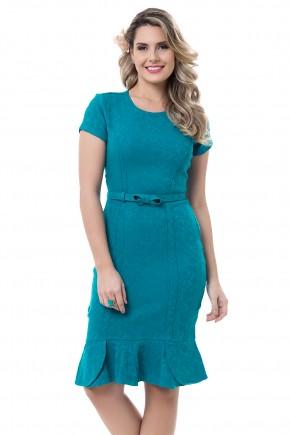 vestido verde manga curta barra babados cinto laco bella heranca viaevangelica frente