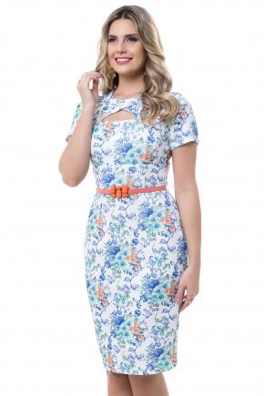 vestido justo estampa floral e arabescos com cinto decote vazado bella heranca viaevangelica frente