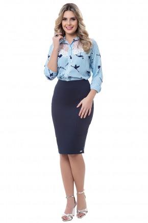 conjunto camisa azul claro rendada estampa listras e flamingos saia azul escuro justa bella heranca viaevangelica frente