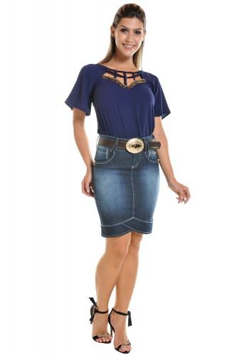 saia jeans justa recortes na barra detalhes strass bolso bordado flores dyork viaevangelica frente