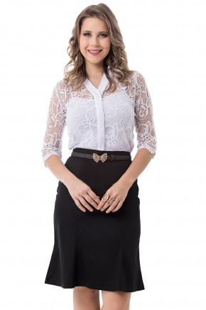 conjunto preto e branco camisa em renda branca saia justa com cinto bella heranca viaevangelica frente