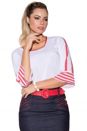 blusa branca listras vermelhas mangas amplas via tolentino viaevangelica frente detalhe