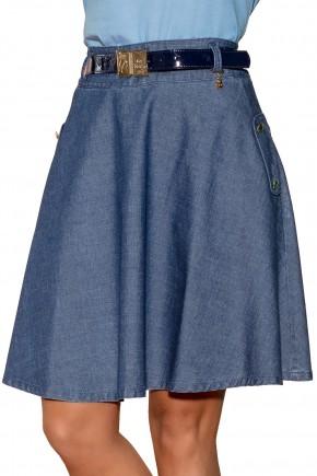 saia jeans escura gode detalhes botoes laterais com cinto via tolentino viaevangelica frente