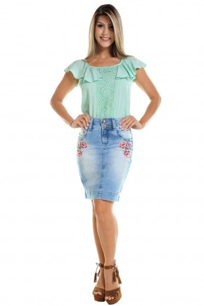 saia jeans clara justa aplicacao floral rosas laterais dyork viaevangelica frente
