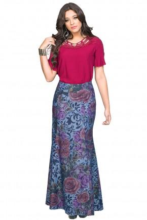 saia longa jeans sereia estampa floral e arabescos dyork viaevangelica frente
