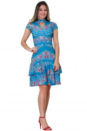 vestido azul estampa floral saia babados gola chocker tata martello viaevangelica frente