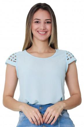blusa azul claro manga curta detalhes vazados tule tata martello viaevangelica frente