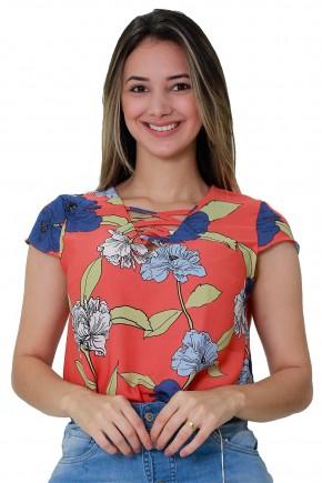 blusa laranja estampa floral manga curta decote trancado tata martello viaevangelica frente