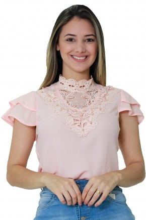 blusa rosa claro manga babados bordado perolas e guipir gola alta tata martello viaevangelica frente