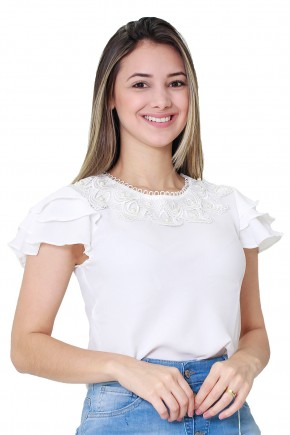 blusa branca gola e mangas babados bordado guipir tata martello viaevangelica frente
