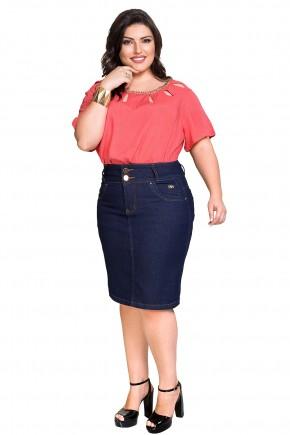 saia jeans escura reta tradicional justa plus size dyork viaevangelica frente