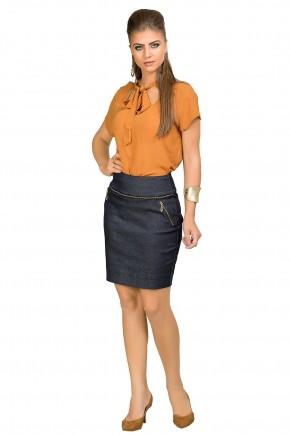 saia jeans escura curta detalhes ziper sem botoes dyork viaevangelica frente