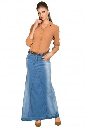 saia longa jeans claro com cinto dyork viaevangelica frente