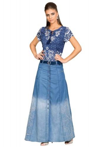 saia jeans longa bordados arabescos botoes frontais dyork viaevangelica frente