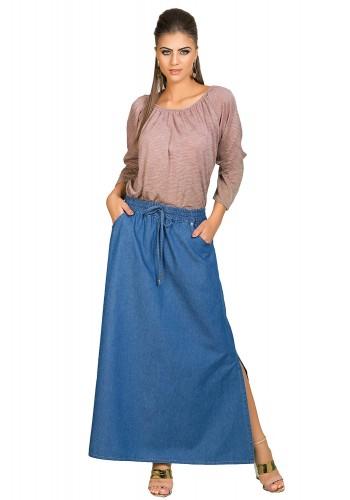 saia longa jeans elastico amarracao na cintura fenda lateral dyork viaevangelica frente