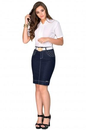 saia jeans escura justa bordados brancos bolsos com cinto dyork viaevangelica frente