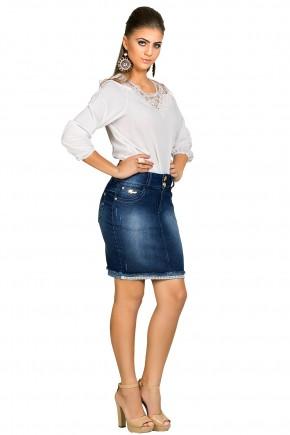 saia jeans escura curta barra guipir e tachas dyork viaevangelica frente