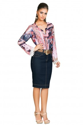 saia jeans escura justa tradicional detalhes bolsos frontais dyork viaevangelica frente