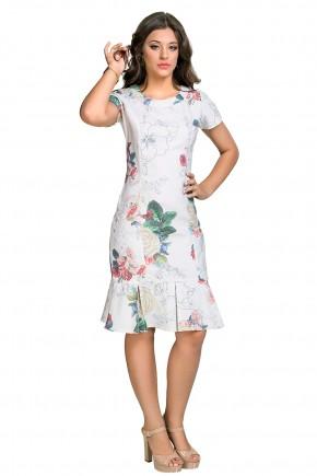 vestido off white sino estampa floral pregas barra dyork viaevangelica frente