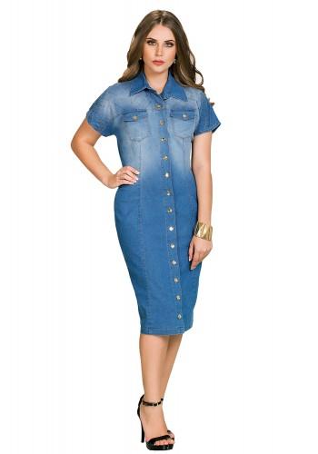 vestido jeans reto bordado ombros e mangas botoes e bolsos frontais dyork viaevangelica frente