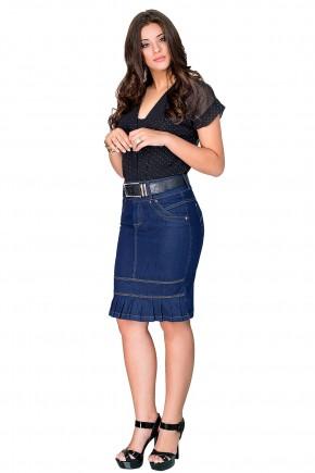 saia jeans escura justa barra plissada dyork viaevangelica frente
