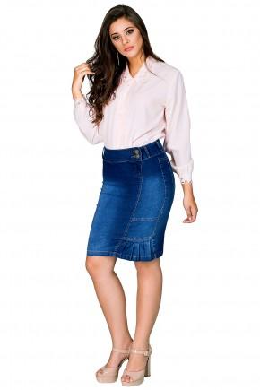 saia jeans reta justa recorte lateral pregas lateral barra botoes dyork viaevangelica frente