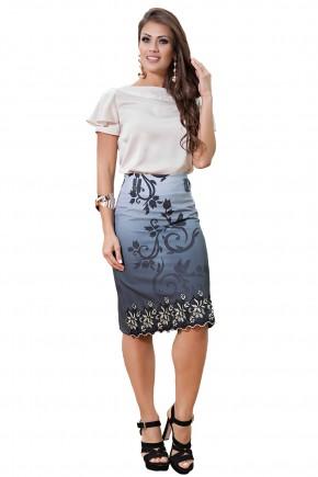 conjunto blusa bege detalhe guipir saia estampada detalhe renda kauly viaevangelica frente