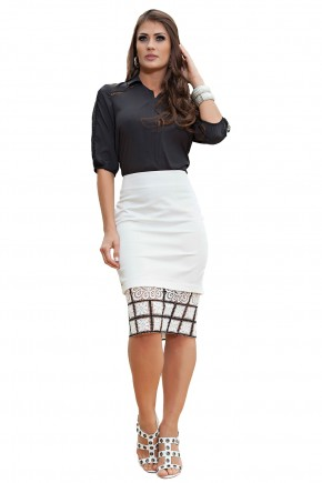 conjunto camisa preta detalhe renda saia justa off white barra renda preta e branca kauly viaevangelica frente