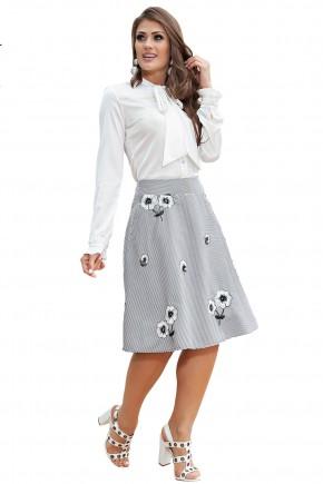 conjunto camisa off white gola laco manga longa saia gode estampa floral e listras kauly viaevangelica frente