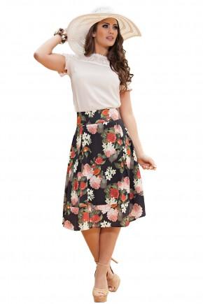 conjunto blusa detalhe em renda tecido brilhoso saia gode preta estampa floral pregas kauly viaevangelica frente