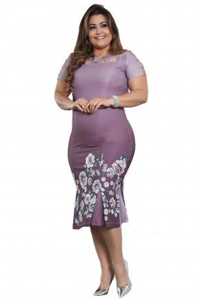 vestido plus size roxo estampa floral manga curta detalhe argolas pregas barra kauly viaevangelica frente