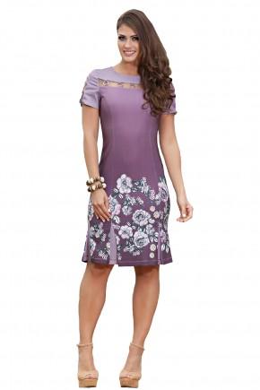 vestido roxo estampa floral manga curta detalhe argolas pregas barra kauly viaevangelica frente