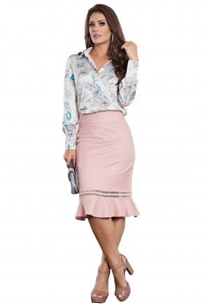 conjunto camisa estampa floral manga longa seda saia sino rose entremeios kauly viaevangelica frente