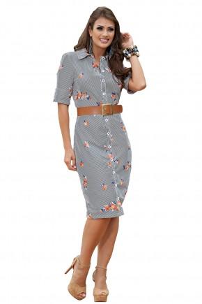 vestido chemise estampa listras e floral midi com cinto kauly viaevangelica frente