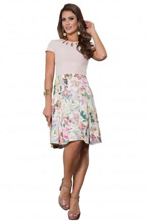 vestido evase estampa floral decote vazado manga curta kauly viaevangelica frente