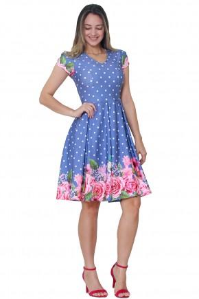 vestido azul evase estampa floral e poa pregas manga curta tata martello viaevangelica frente