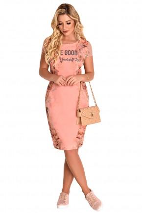 vestido justo rose manga curta renda estampa floral e escrita strass fascinius viaevangelica frente