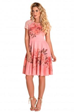 vestido gode rosa manga curta renda estampa floral decote vazado fascinius viaevangelica frente