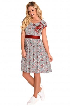 vestido gode estampa listras e floral aplicacao floral ombro manga curta detalhe guipir faixa cintura fascinius viaevangelica frente