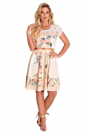 vestido gode estampa floral poa e listras ombros e mangas rendadas fascinius viaevangelica frente