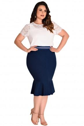 conjunto plus size blusa branca detalhe guipir saia azul sino listras pretas fascinius viaevangelica frente
