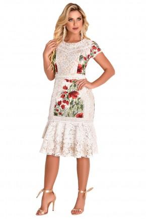 vestido off white sino sobreposto em renda estampa floral babados manga curta fascinius viaevangelica frente