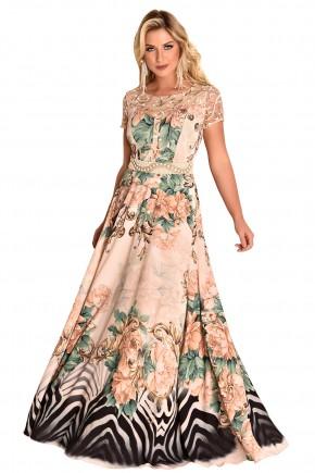 vestido longo bege mix de estampas cinto em pedrarias ombros e mangas guipir fascinius viaevangelica frente