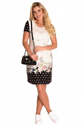 vestido justo off white e preto estampa floral e poa decote bordado predrarias e guipir fascinius viaevangelica frente