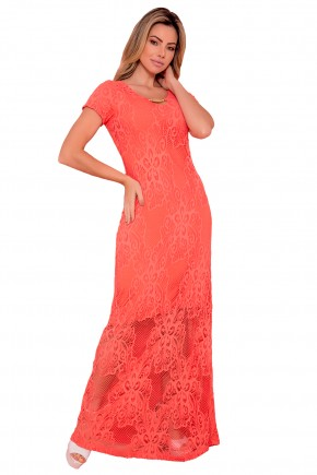 vestido salmao longo sobreposicao renda floral detalhe decote via tolentino viaevangelica frente