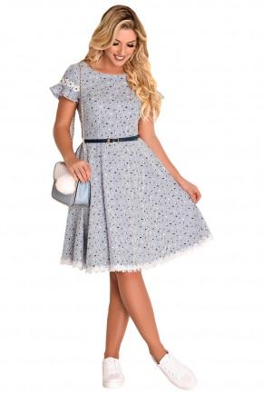 vestido gode off white estampa listras e poa detalhe guipir manga e barra fascinius viaevangelica frente
