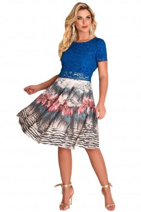 conjunto blusa azul rendada saia evase mix de estampas fascinius viaevangelica frente