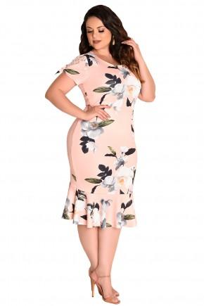 vestido plus size sino rose estampa floral e folhagem manga renda e amarracao fascinius viaevangelica frente