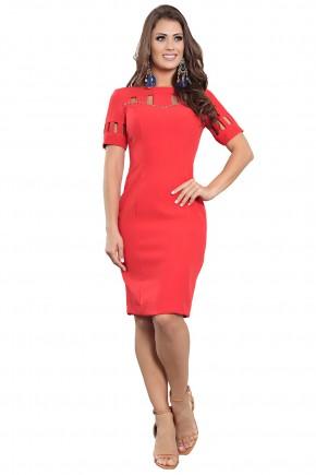 vestido justo tubinho vermelho decote e mangas vazadas bordado alfairataria kauly viaevangelica frente